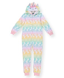 Big Girls Unicorn Print Flannel Fleece Onesie with Shimmer and Novelty Unicorn Hood