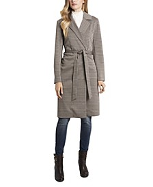 Women's Notch Collar Belted Heritage Check Coat