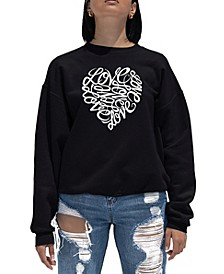 Women's Word Art Crewneck Love Heart Sweatshirt