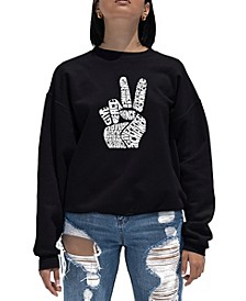 Women's Word Art Crewneck Peace Fingers Sweatshirt