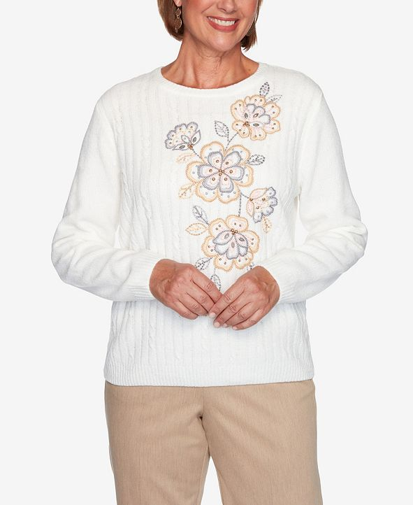Alfred Dunner Women's Plus Size Glacier Lake Asymmetric Flower Chenille Sweater