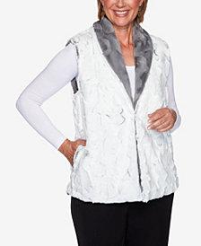 Women's Plus Size Knightsbridge Station Reversible Faux Fur Vest