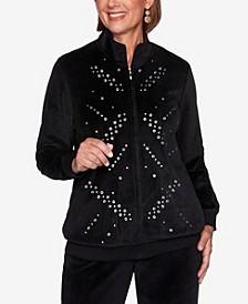Women's Plus Size Modern Living Velour Grommet Jacket