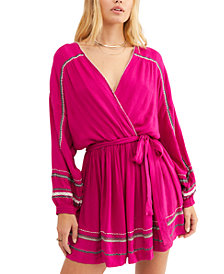 Free People Delilah Embroidered Wrap Mini Dress