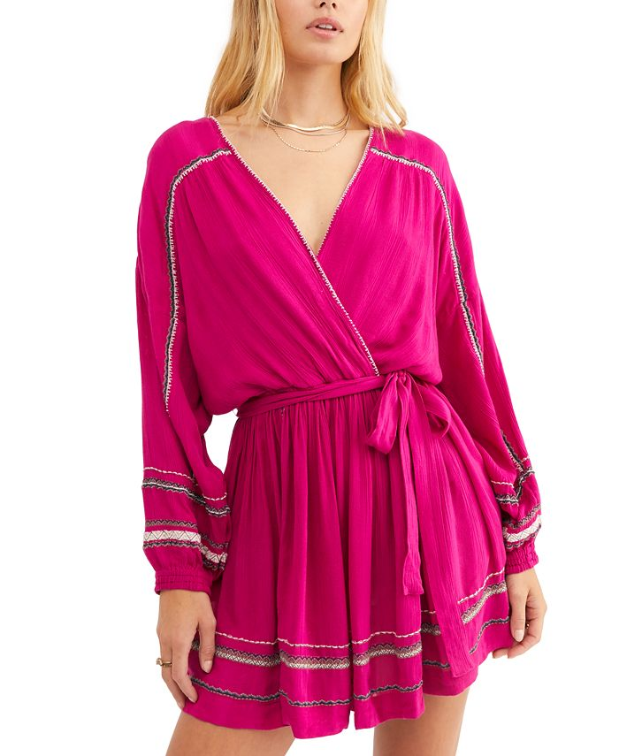 Free People - Delilah Embroidered Wrap Dress