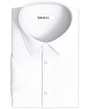 Men's Slim-Fit Performance Stretch Textured Geo Short Sleeve Dress Shirt