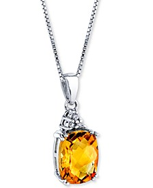 "Citrine (2-3/4 ct. t.w.) & Diamond Accent 18"" Pendant Necklace in Sterling Silver"