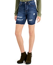 Juniors' Frayed Distressed Bermuda Shorts