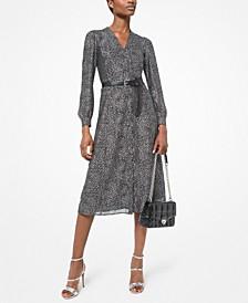 Star-Print Belted Midi Dress