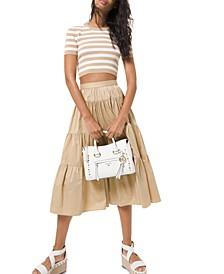 Tiered A-Line Midi Skirt