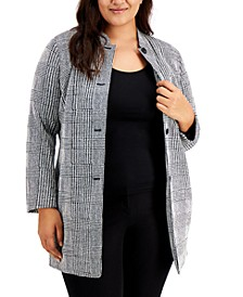 Plus Size Houndstooth Button-Front Jacket