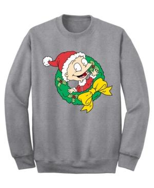 Men's Rugrats Santa Tommy Wreath Crew Fleece Sweatshirt