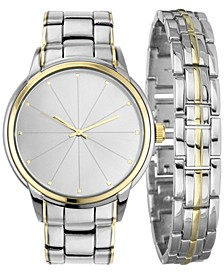 INC Men's Two-Tone Bracelet Watch 46mm Gift Set, Created for Macy's