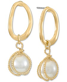 Gold-Tone Link & Tied Imitation Pearl Drop Earrings, Created for Macy's