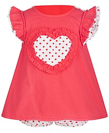 Baby Girls Heart & Dots Ruffle Cotton Sunsuit, Created for Macy's