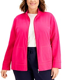 Plus Size French Terry Knit Jacket, Created for Macy's