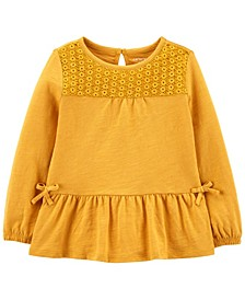 Toddler Girls Eyelet Lace Slub Jersey Top