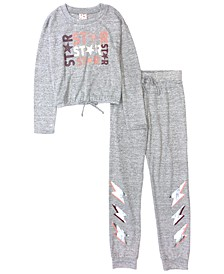 Big and Little Girls Ls Top and Jogger Set