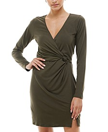 Juniors' Knotted Surplice Bodycon Dress