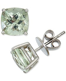 Green Quartz Cushion Stud Earrings (3-3/4 ct. t.w.) in Sterling Silver