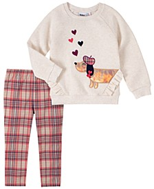 2 Piece Toddler Girls Dog Fleece Top with Plaid Legging Set