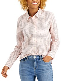 Petite Stripes & Hearts Printed Button-Front Shirt, Created for Macy's