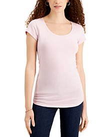 Juniors' Scoop-Neck Cap-Sleeve T-Shirt