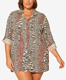 Plus Size Printed Shirt Cover-Up
