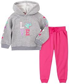 Little Girl 2-Piece Hooded Fleece Top with Fleece Pant Set