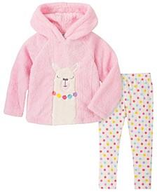 Little Girl 2-Piece Hooded Fleece Top with Dot Print Legging Set