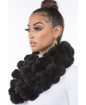 Women's Faux Fur Pom Loop Scarf
