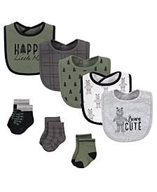 Boys and Girls Cotton Bib and Sock Set