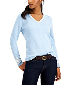 Cotton Striped-Cuff Sweater
