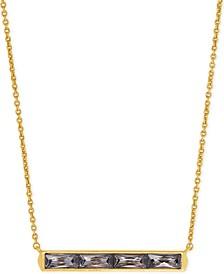 """Vintage Gold-Tone Baguette-Cut Crystal Pendant Necklace, 16"""" + 2"""" extender"""