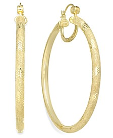 18K Gold over Sterling Silver Earrings, Laser and Diamond-Cut Extra Large Hoop Earrings