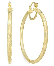 Simone I. Smith 18K Gold over Sterling Silver Earrings, Laser and Diamond-Cut Extra Large Hoop Earrings