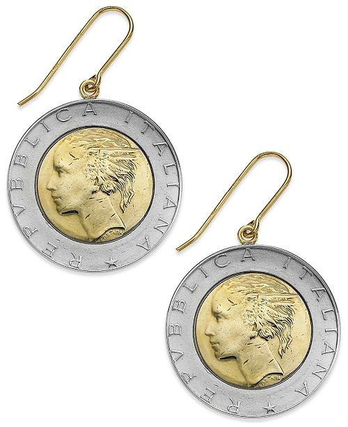 Italian Gold Vermeil and Sterling Silver Lira Coin Drop Earrings