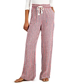 Juniors' Striped Drawstring-Waist Soft Pants