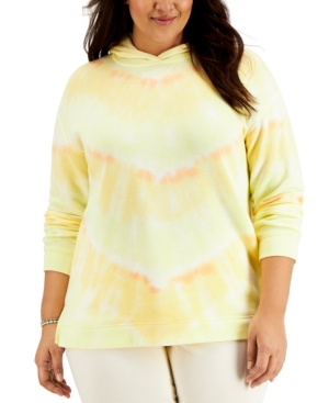 Style & Co PLUS SIZE TIE-DYED HOODIE, CREATED FOR MACY'S
