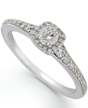 14k White Gold Diamond Halo Engagement Ring (1/2 ct. t.w.)
