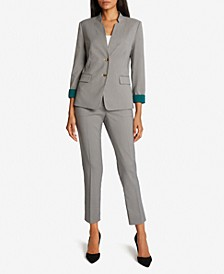 Checkered Contrast-Cuff Pants Suit