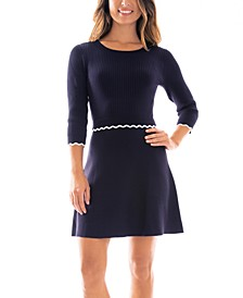 Juniors' Scalloped-Trim Sweater Dress