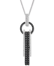 "Black & White Diamond Circle Vertical Drop 18"" Pendant Necklace (1 ct. t.w.) in 14k White Gold"