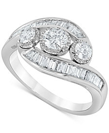 Diamond Round & Baguette Swirl Ring (1 ct. t.w.) in 10k Gold or 10k White Gold