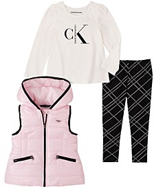 Little Girl Hooded Vest with Long Sleeve Top and Plaid Legging, 3 Piece Set