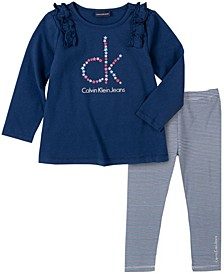 Toddler Girl Knit Tunic with Stripe Legging, 2 Piece Set