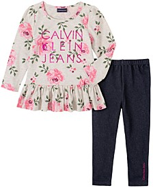 Little Girl with Floral Print Tunic and Faux Knit Denim Legging, 2 Piece Set