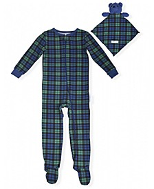 Baby Boys Tertan Plaid Coverall with Blankie Baby