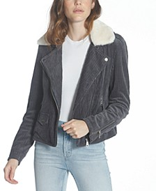 Faux-Fur-Collar Corduroy Moto Jacket