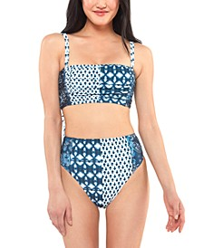 Batik Babe Shirred Bikini Top & High-Waist Bottoms